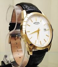 ROTARY MENS GENT 9CT GOLD PLATED Lightweight Watch Black leather RRP £180 Boxed