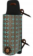 Showman Leather Drink Holder Saddle Accessory w/ TEAL Navajo Print!! NEW TACK!!