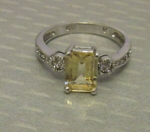 estate sterling silver 1.5ct EMERALD CUT YELLOW CITRINE RING sz 7 signed 925 A