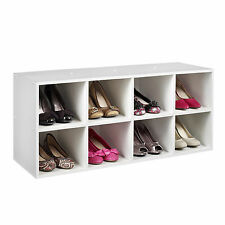 Shoe Storage Rack Organizer Box Shelf Wood Cabinet Closet Entryway White Finish