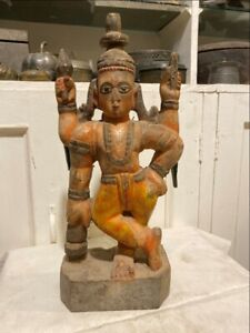 1700's Antique Old Wooden Hand Carved Painted Hindu God Vishnu Figurine Rare