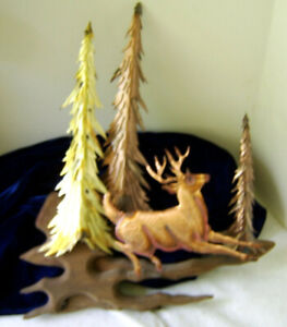 """Forest Trees and Deer Metal Wall Art Decor 15"""" tall x 12 """" wide"""