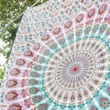 Peacock Mandala Wall Hanging Wall Decor Cotton Beach Throw Indian Twin Tapestry