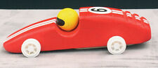 Vintage Pintoy Toy Race Car Wooden Red Number 6 Figure ToySmith