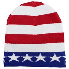 NEW US FLAG USA Beanie American Patriotic 4th Of July SKI SNOWBOARDING Star HAT
