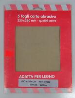 Oreca carta abrasiva x legno 5 fogli 230x280 mm grana media 82622 uso a secco