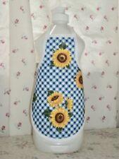 Sunflower Blue Gingham Country Primitive Kitchen Soap Bottle Apron - fits 25 oz