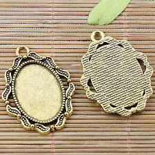 3pcs dark gold tone oval shaped rim cabochon setting EF2495