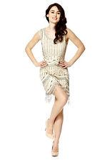Beige Vintage 1920s Flapper Gatsby Downton Abbey Fringe Beaded Dress Size 8-18