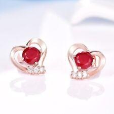 18 K Rose Gold Filled Bling Red Garnet Crystal Heart Stud Earrings