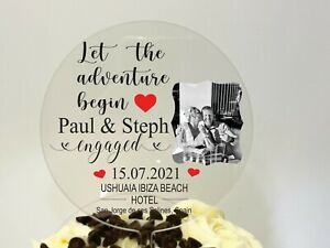 Personalized Acrylic Engagement Cake Topper, Your choice of text & image