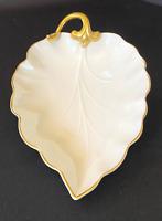 LENOX Ivory Porcelain Leaf Shape Dish Candy Nut Trinket 24K Gold Trim USA
