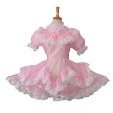 Forced Sissy Maid Pink Organza Lockable See Through Dress Uniform Costume Male