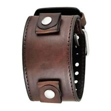 Nemesis Brown Wide XL Leather Cuff Watch Band 24mm LBB-D