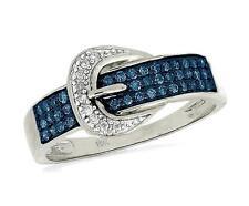 Diamond Buckle Ring 10K White Gold Blue & White Diamond Belt Buckle Ring .25ct
