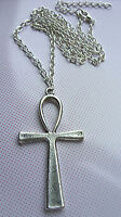Silver  Large (56x29mm) ANKH Cross Charm pendant Necklace Egyptian Symbol of