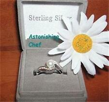 AVON STERLING SILVER GENUINE PEARL RING & GIFT BOX SZ 7