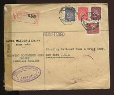 PORTUGAL 1945 REGIST.CENSORED + CUSTOMS...JACKY MAEDER Co to NY