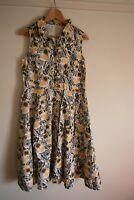 Nomads summer dress size 14 100% cotton sleeveless multicloured yellow retro