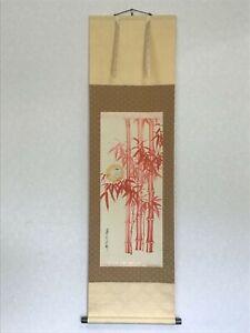 Y1319 KAKEJIKU red bamboo bird signed box 147x42cm Japanese hanging scroll