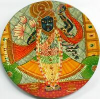 Shrinath ji Round Plate Wall Hanging  Wooden Painting God Decorative Hindu sum