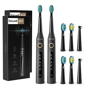 Fairywill 2 eléctrico cepillo de dientes sónico de carga USB FW-507 impermeable