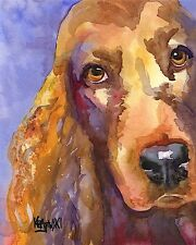 Irish Setter Art Print Signed by Artist Ron Krajewski Painting 8x10 Dog