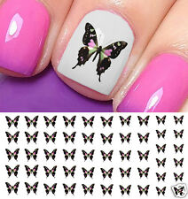 Pink and Green Butterfly Nail Art Waterslide Decals - Salon Quality!