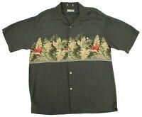 Bamboo Cay Mens Large Hawaiian Green Short Sleeve Button Up Shirt Rayon