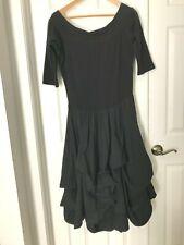 Luna Luz Interior Tie Boat Neck Midi Maxi Dress XL Black Lagenlook Half Sleeve