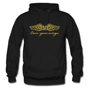 GT Bicycle BMX Earn Your Wing Black Hoodie Hooded Sweatshirt Men's S-3XL
