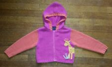 Girls SONOMA Sz. 3T Hooded Zip-Up Sweater GIRAFFE Pink & Orange