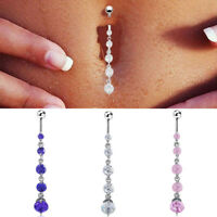Silver Round Rhinestone Dangle Navel Belly Button Ring Bar Body Piercing Jewelry