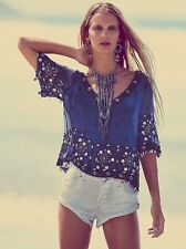 150197 NWD Free People Sparkling Seas Embellished Evening Blouse Top Large L