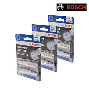 New SET OF 6 BOSCH Platinum+2 Spark Plugs - 4305 Made in Germany