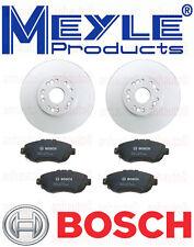 Set of 2  Meyle Anti Rust Coated Front Rotors & Bosch QuietCast Ceramic Pads