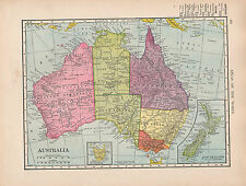 1909 MAP ~ AUSTRALIA ~ NEW SOUTH WALES VICTORIA NEW ZEALAND TASMANIA