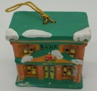 Bank 2000 Ceramic Building with  Bell Christmas Ornament