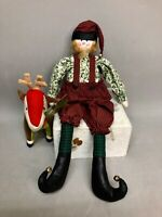 Cloth Elf Folk Art Doll and Starbuck Stuffed Reindeer  with Tag Christmas Decor