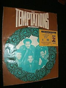 THE TEMPTATIONS 1972 CONCERT TICKET WITH PROGRAMME. BOURNEMOUTH WINTER GARDENS