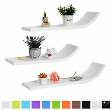 Floating Wall Shelves Set of 3 Wavy Wall Mount for Storage &Decorative u115
