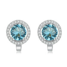 Aquamarine CZ 925 Sterling Silver Women Jewelry Engagement Clip Earrings SE043