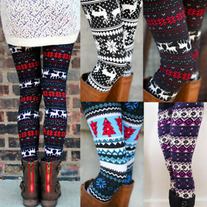 Winter Colorful Christmas Patterned Warm Leggings Snowflake Reindeer Xmas Gifts