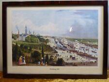 Hamburger Hafen um 1849 Kunst Druck Wurzelholz Antik Rahmen Holz