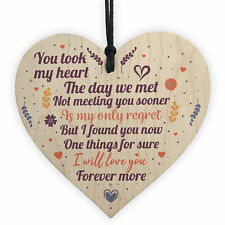 Wedding Anniversary Valentines Wooden Heart Chic Sign Wedding Gifts For Her Him