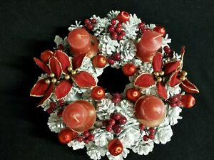 Christmas Holiday Center Piece Red Votive Candle Holders Pine Cones Poinsettia