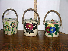3 ANTIQUE MADE IN JAPAN POTTERY BASKETS  WITH WICKER HANDLES AND POTTERY LIDS
