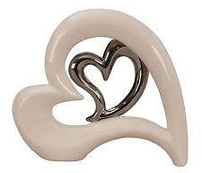 Decoración Moderna Escultura con Plata Corazón de Cerámica Blanco/Plata Altura