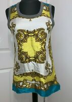 Dolce & Gabbana D&G silk scarf print +cotton vest tank top dress UK8-10US4-6EU34