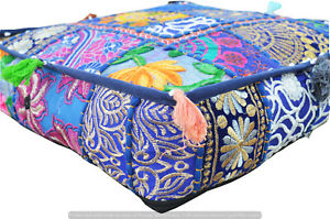 Indian Handmade Ottoman Pouf Cotton Patchwork Blue Square Floor Cushion Cover